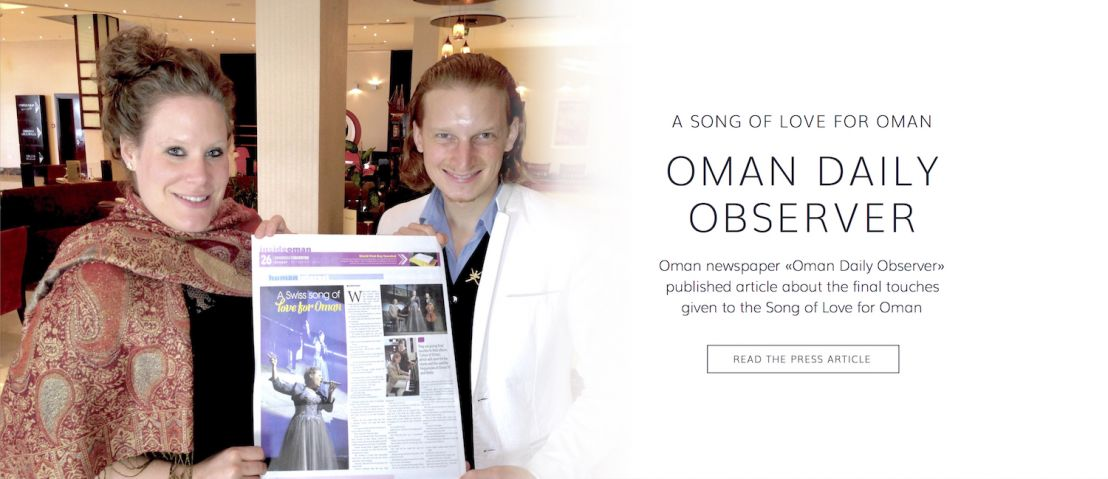 Oman newspaper Oman Daily Observer publishes article about finale touches given to the song of love for Oman