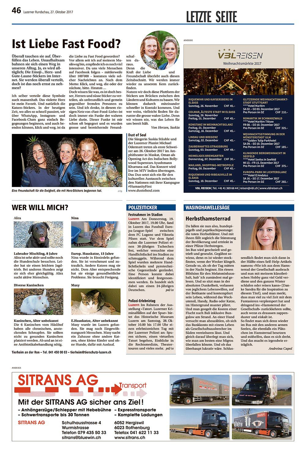 Luzerner Rundschau as of Friday, 27 October 2017