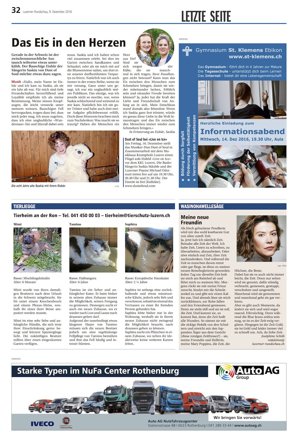 Luzerner Rundschau as of Friday, 9 December 2016