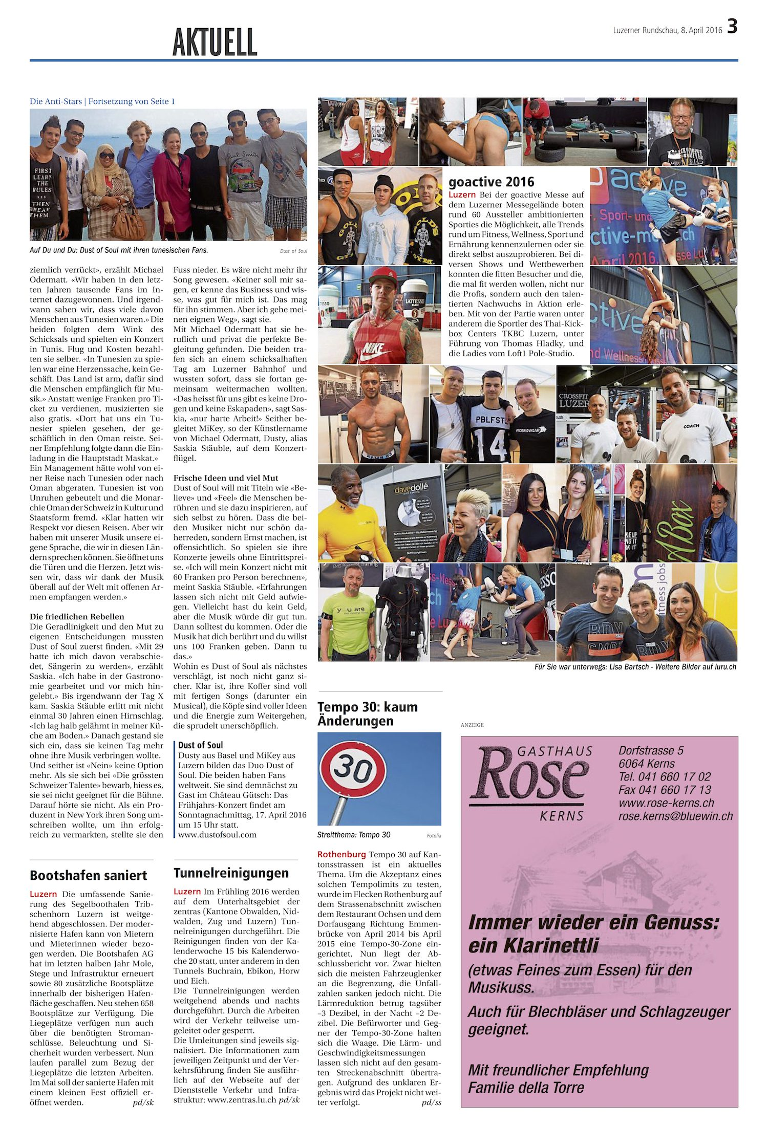 Front Page Article Luzerner Rundschau