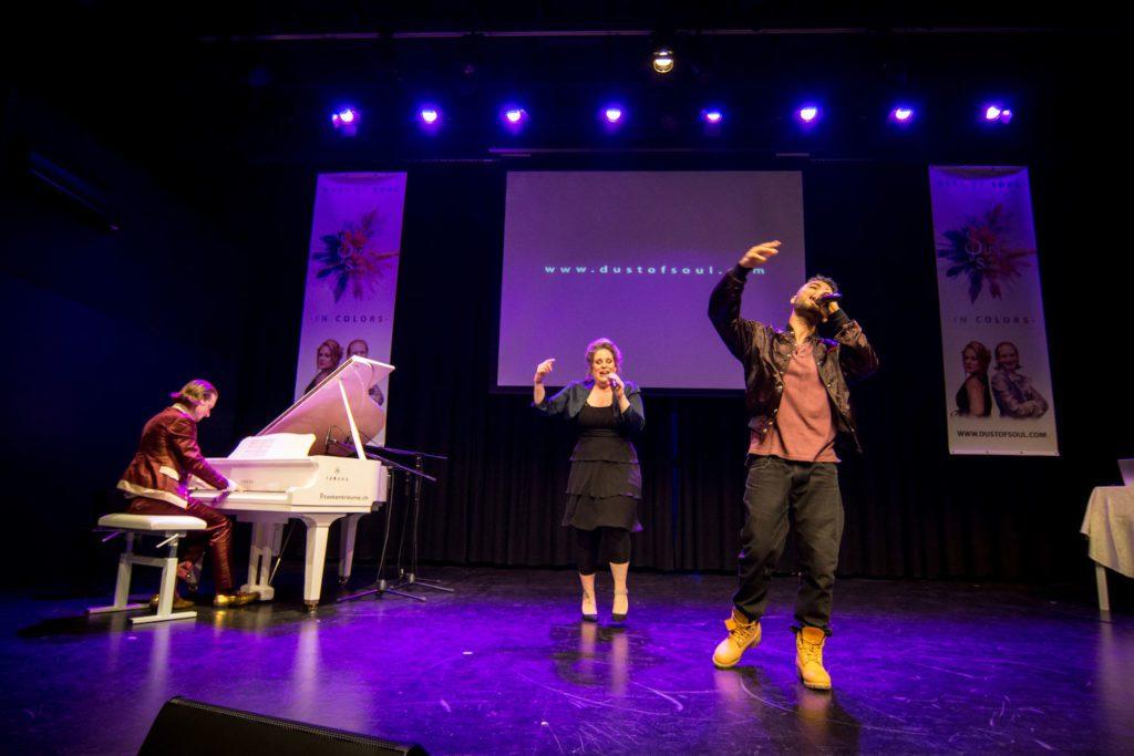 Ghanaian rapper Yaw Boso performing with 'Opera Pop' duo Dust of Soul in Switzerland