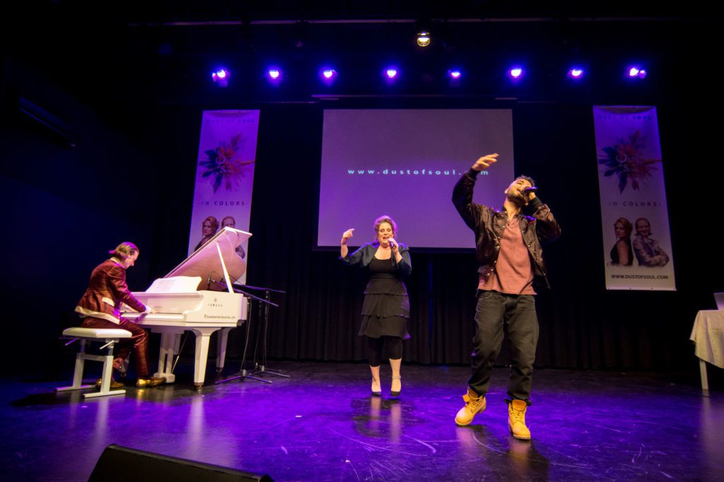 Ghanaian rapper Yaw Boso performing with 'Opera Pop' duo Dust of Soul in Switzerland
