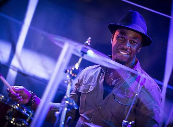 Senegalese drummer Omar Diadji at the Dust of Soul New Year's Concert at Hotel Seeburg Lucerne